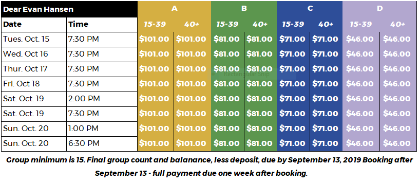 Groups Pricing Grid- KC DEH